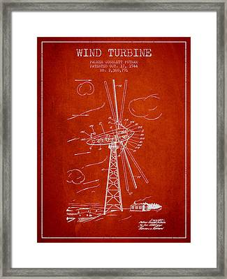 Wind Turbine Patent From 1944 - Red Framed Print by Aged Pixel