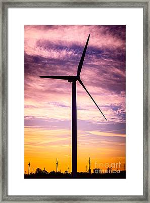 Wind Turbine Picture On Wind Farm In Indiana Framed Print