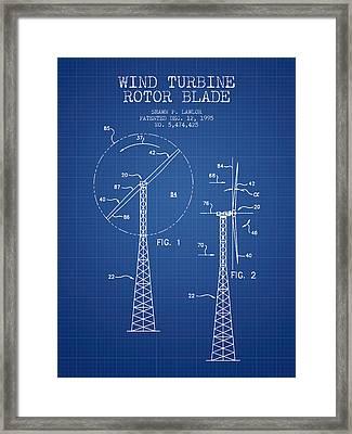 Wind Turbine Rotor Blade Patent From 1995 - Blueprint Framed Print