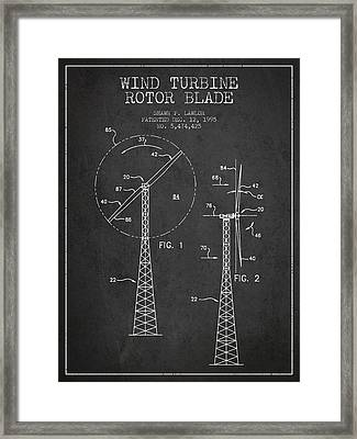 Wind Turbine Rotor Blade Patent From 1995 - Dark Framed Print