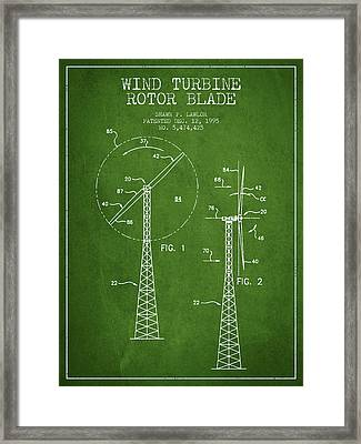 Wind Turbine Rotor Blade Patent From 1995 - Green Framed Print