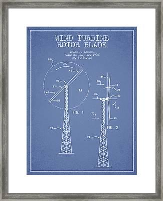 Wind Turbine Rotor Blade Patent From 1995 - Light Blue Framed Print