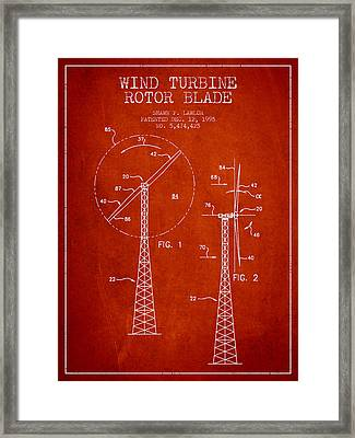 Wind Turbine Rotor Blade Patent From 1995 - Red Framed Print