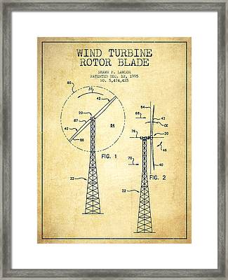Wind Turbine Rotor Blade Patent From 1995 - Vintage Framed Print
