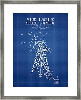 Wind Turbine Speed Control Patent From 1994 - Blueprint Framed Print