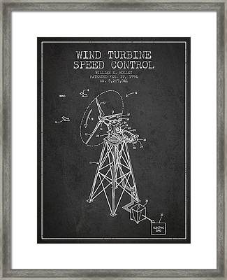 Wind Turbine Speed Control Patent From 1994 - Dark Framed Print