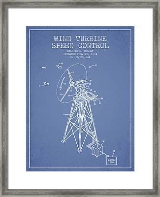 Wind Turbine Speed Control Patent From 1994 - Light Blue Framed Print