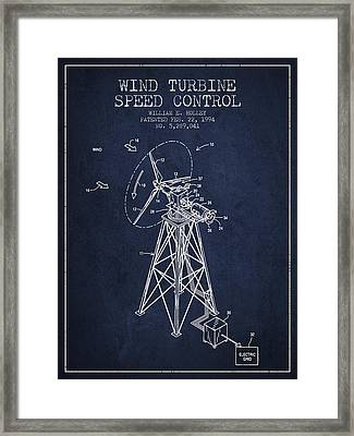 Wind Turbine Speed Control Patent From 1994 - Navy Blue Framed Print