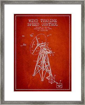 Wind Turbine Speed Control Patent From 1994 - Red Framed Print