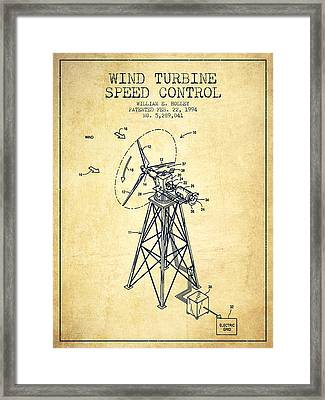 Wind Turbine Speed Control Patent From 1994 - Vintage Framed Print