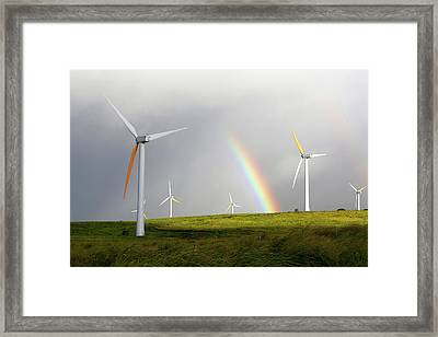 Wind Turbines And Rainbow Framed Print by Michael Szoenyi