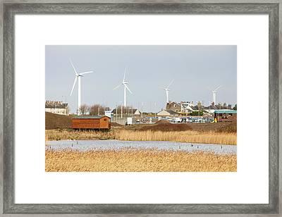Wind Turbines Behind Siddick Pond Framed Print by Ashley Cooper