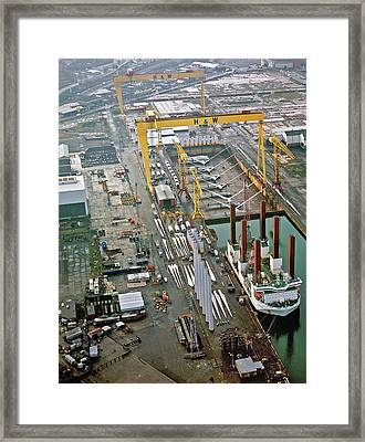 Wind Turbines Being Offloaded Framed Print by Harland & Wolff Heavy Indust./us Department Of Energy
