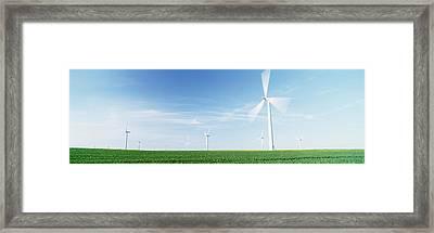 Wind Turbines In A Field, Easington Framed Print