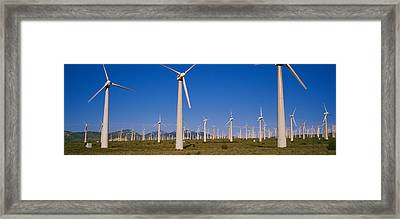 Wind Turbines In A Field, Mojave Framed Print by Panoramic Images