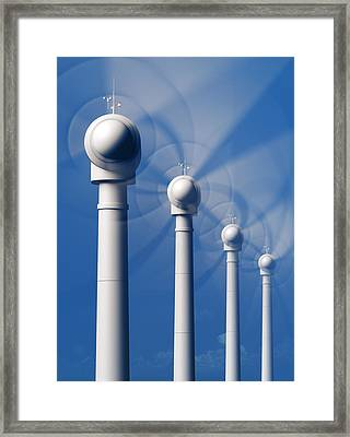 Wind Turbines In Motion From The Front Framed Print by Johan Swanepoel
