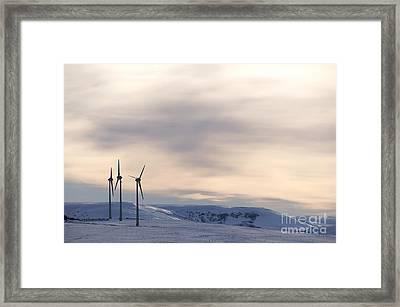 Wind Turbines In Winter Framed Print by Bernard Jaubert