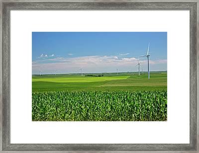 Wind Turbines On Nebraska Farm Framed Print