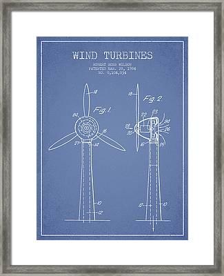 Wind Turbines Patent From 1984 - Light Blue Framed Print