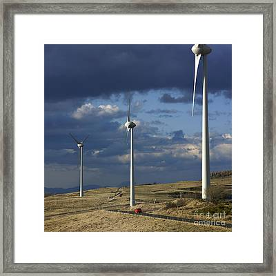 Wind Turbines. Region Auvergne. France Framed Print by Bernard Jaubert