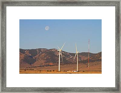 Wind Turbines With A Full Moon And Blue Skies Framed Print by James BO  Insogna
