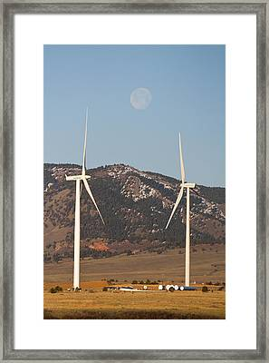 Wind Turbines With A Full Moon Portrait Framed Print by James BO  Insogna