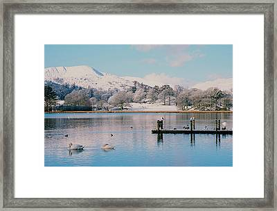 Windermere In Snow Framed Print by Ashley Cooper