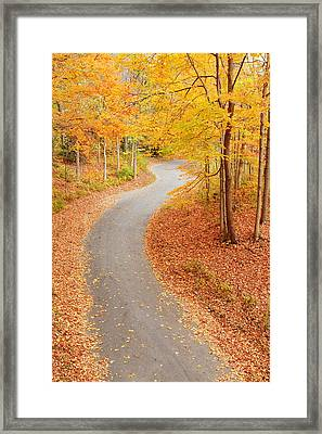 Winding Alley In Fall Framed Print