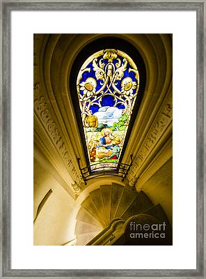 Winding Chapel Stairs And Stained Glass Framed Print