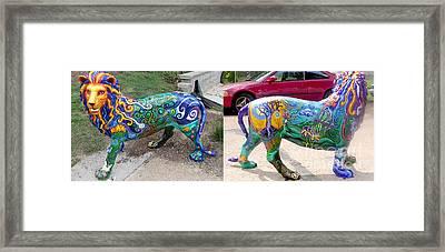 Winding Earth Camo Lion Framed Print