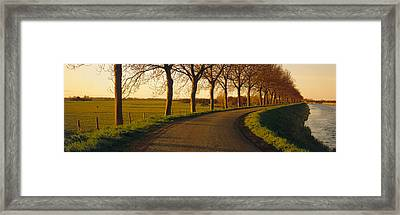 Winding Road, Trees, Oudendijk Framed Print by Panoramic Images