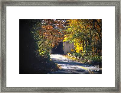 Winding Road With Covered Bridge Framed Print