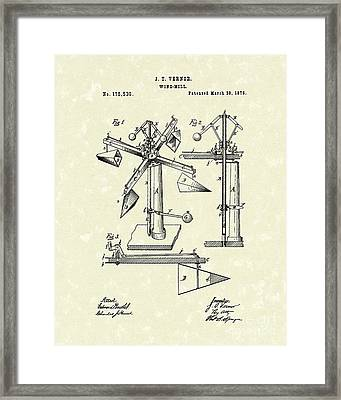 Windmill 1876 Patent Art Framed Print by Prior Art Design