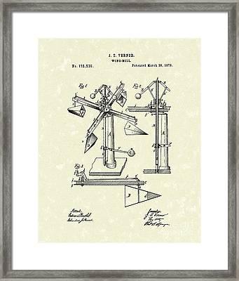 Windmill 1876 Patent Art Framed Print