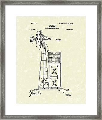 Windmill 1903 Patent Art Framed Print