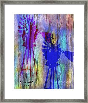 Windmill Abstract Painting Framed Print by Judy Filarecki