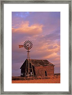 Windmill And Barn Sunset Framed Print