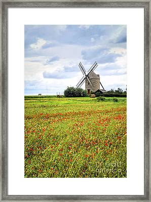 Windmill And Poppy Field In Brittany Framed Print