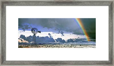 Windmill And Rainbow, Mojave National Framed Print by Panoramic Images