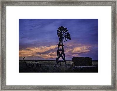 Windmill And Sky Framed Print