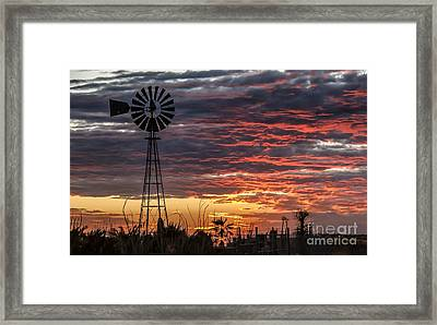 Windmill And The Sunset Framed Print