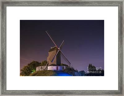 Windmill At Night Framed Print by Juli Scalzi