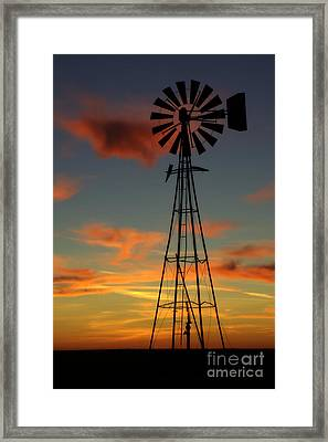 Framed Print featuring the photograph Windmill At Sunset 1 by Jim McCain