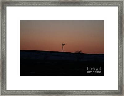 Framed Print featuring the photograph Windmill At Sunset by Ann E Robson