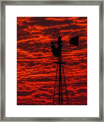 Framed Print featuring the photograph Windmill At Sunset by Rob Graham