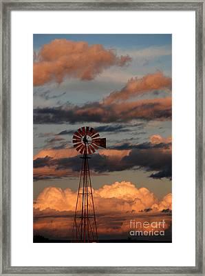 Windmill At Sunset V Framed Print by Cindy McIntyre