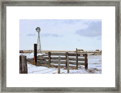 Windmill At The Corral Framed Print