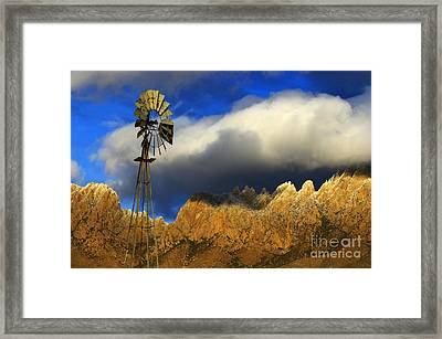 Windmill At The Organ Mountains New Mexico Framed Print by Bob Christopher