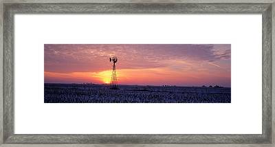 Windmill Cornfield Edgar County Il Usa Framed Print by Panoramic Images