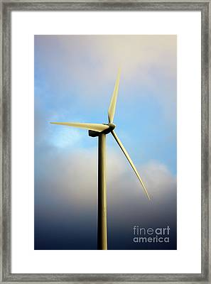 Windmill Dark Blue Sky Framed Print